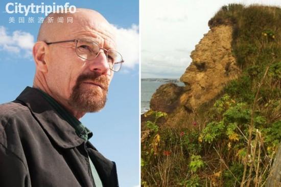 《英国岩石酷似《绝命毒师》男主侧脸 吸引众多游客》