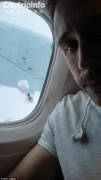 加航乘客惊呆了 螺旋桨螺丝空中击穿客机玻璃