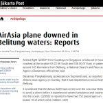 雅加达邮报:相信印尼亚航QZ8501已坠毁