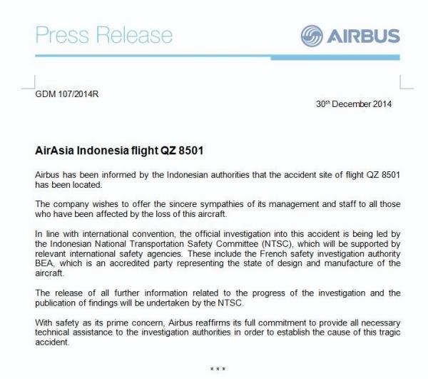 《空客:印尼主导QZ8501调查 将提供技术支持》