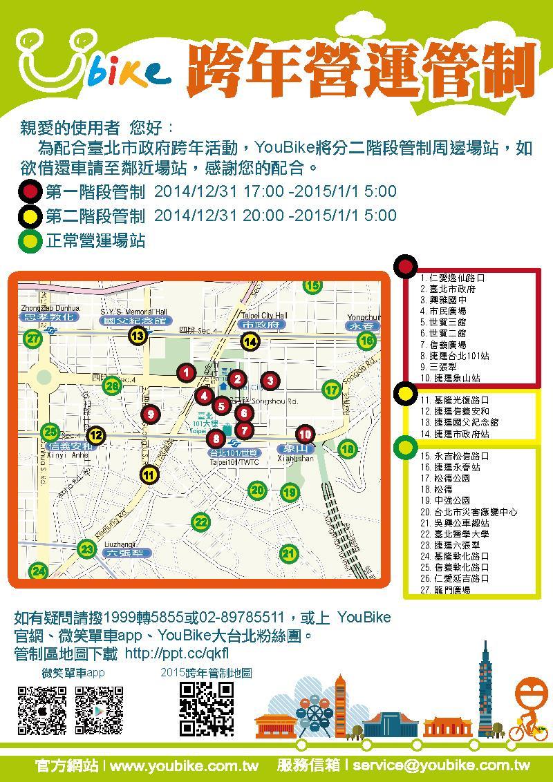 《台北跨年晚会交通管制!行人不能骑U Bike~》