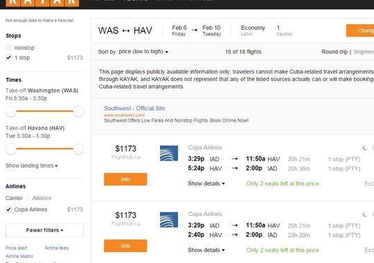 《古巴旅行需求强劲 航班信息上架Kayak》