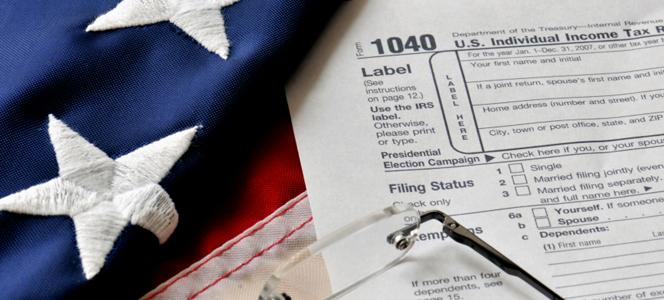 U.S. flag and income tax form
