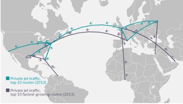 《私人飞机航线排名:纽约航线最热门》