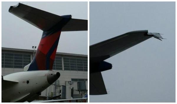 《达美航空客机滑行时擦碰候机楼 平尾受损》