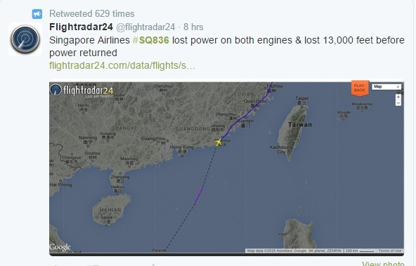 新航新加坡飞上海航班遇短暂双发失效