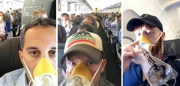 """《美联航客机紧急备降 乘客秀""""氧气面罩自拍""""》"""