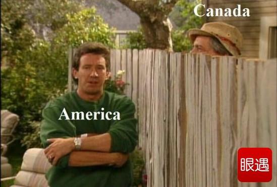 《美国与加拿大的边境线是那么的和谐美丽!》