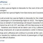 汉莎:将安排特别航班运送乘客亲属前往马赛