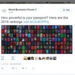 2016年世界护照排名 世界经济论坛公布